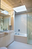 Bright, modern bathroom with clear lines