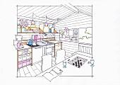 Illustration: Kochstelle für Selbstversorger in einem Gartenhaus