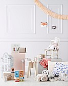 Kids' Christmas gift ideas in front of white wall