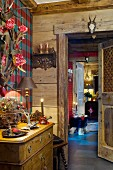 Candlelit, festive ambiance in rustic chalet