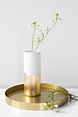 Gold and white vase hand-made from can