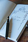 Black ink pen on open book