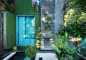 View from above into a small courtyard garden with a mini pool
