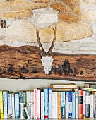 Skull with antlers hung on beam above row of books and decorative letter