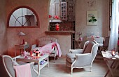 French-style armchair and romantic accessories in pink
