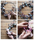 Instructions for making a wreath of poplar and hydrangeas