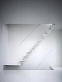 White zig-zag staircase in white interior