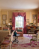 Historical living room in pastel shades in Cornwell Manor