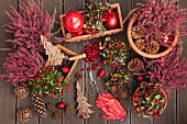 Festive arrangement of plants: heather (Erica) and Eastern teaberry (Gaultheria procumbens)