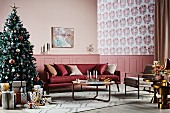 Elegant living room with a decorated Christmas tree