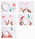 Instructions for a wreath of paper sheets with gradient