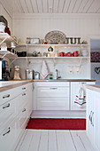 Christmas decorations in Scandinavian-style country-house kitchen