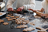 Children making festive biscuits