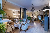 Antique furniture in open-plan interior with Belle Époque ambiance