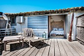 Rustic terrace outside Mediterranean holiday cottage