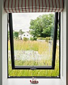 View onto green roof through open pivot-hung window