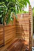 Wood-clad outdoor shower