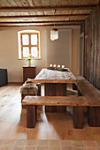 Rustic wooden furniture in dining room