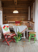 Embroidered and crocheted accessories around dining table in farmhouse