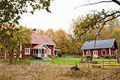 Typical Scandinavian farm with two Falu-red Swedish houses