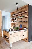 Open-plan fitted kitchen with plywood cupboards and island counter