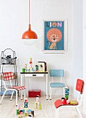 Painted building blocks in retro child's bedroom