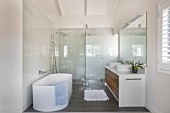 Oval bathtub in modern bathroom with floor-level shower