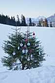 Fir tree decorated with hand-made Christmas decorations in snowy landscape
