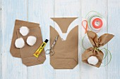 Instructions for making bunny gift bags with cotton tails