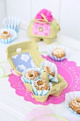 Mini bundt cakes in egg box as gift