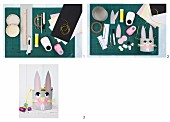 Craft materials and instructions for making a bunny Easter basket