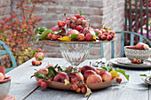 Apple table decoration on autumn terrace