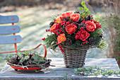 Bouquet of Rose, Ilex verticillata, cones