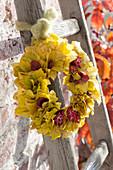 Wreath of Euonymus europaeus yellow autumn leaves and fruit sheaths