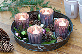 Fast Advent wreath with silver lanterns on metal tray