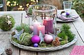 Christmas table decoration on the terrace