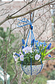 Cereal bowl with blue string turned into a flower basket and hung on a tree