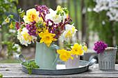 Spring Bouquets of Narcissus (Narcissus), Bergenia (Bergenie)