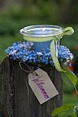 Small preserving jar as lantern in Myosotis wreath