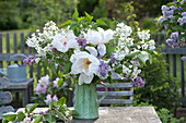 White bouquet with Paeonia suffruticosa 'Sahohime' syn. 'Princess Saho'
