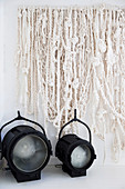 Natural white wool wall hanging and two vintage spotlights
