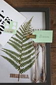 Pressed fern leaf in frame with place card