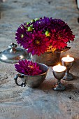 Purple dahlias in zinc pot and pewter cup