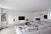 Pale grey sofa combination in minimalist living room