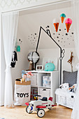 White wall decorated with black washi tape in boy's bedroom