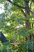 Floating candles, hollyhock and hydrangea flowers in DIY birdbath hung from tree on long ropes