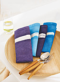 Batik napkins in blue and purple