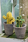 Hand-sewn cactus and crocheted succulent in grey plant pots