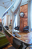 Chrome sculpture in living room of artist's apartment