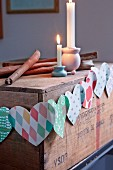 Garland of patterned paper hearts